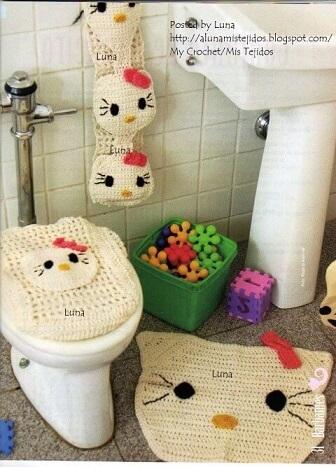 Jogo de banheiro de crochê da Hello Kitty