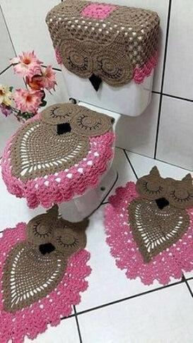 Jogo de banheiro de crochê de coruja marrom e rosa