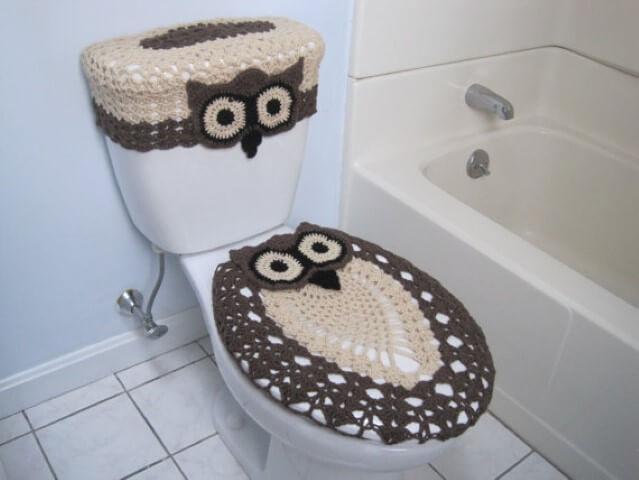 Jogo de banheiro de crochê de coruja marrom