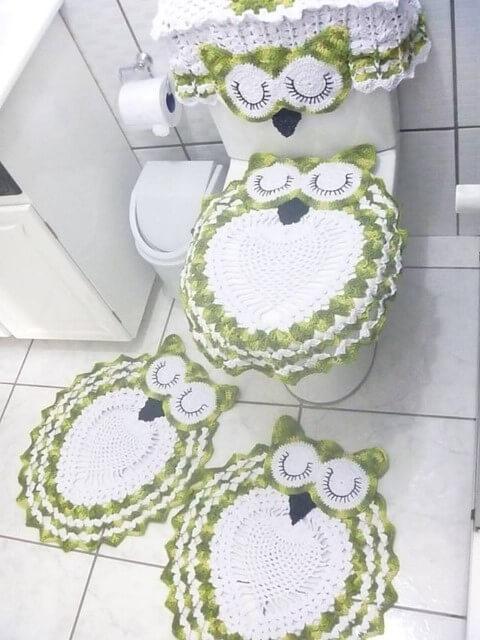 Jogo de banheiro de crochê de coruja verde