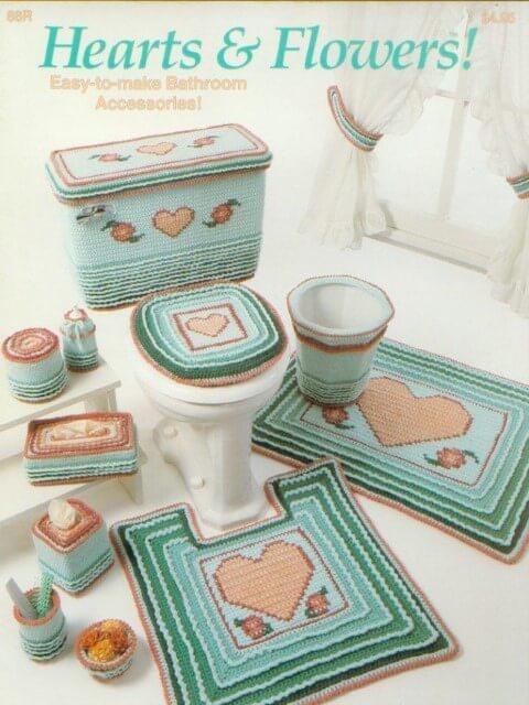 Jogo de banheiro de crochê delicado de coração