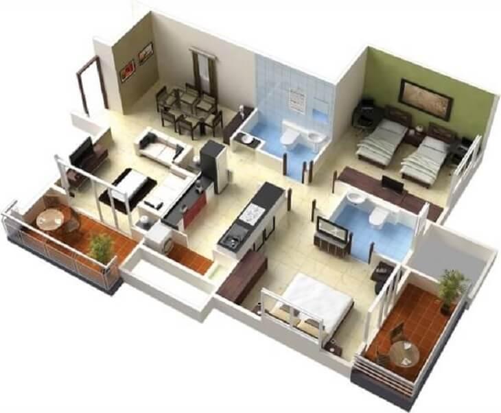 Plantas de casas para analisar todos os tipos de móveis