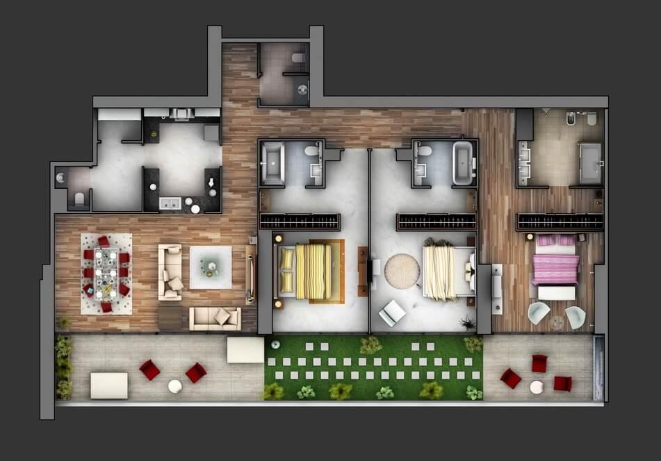 50 inspira es de plantas de casas para seu projeto for 3 bedroom condo interior designs