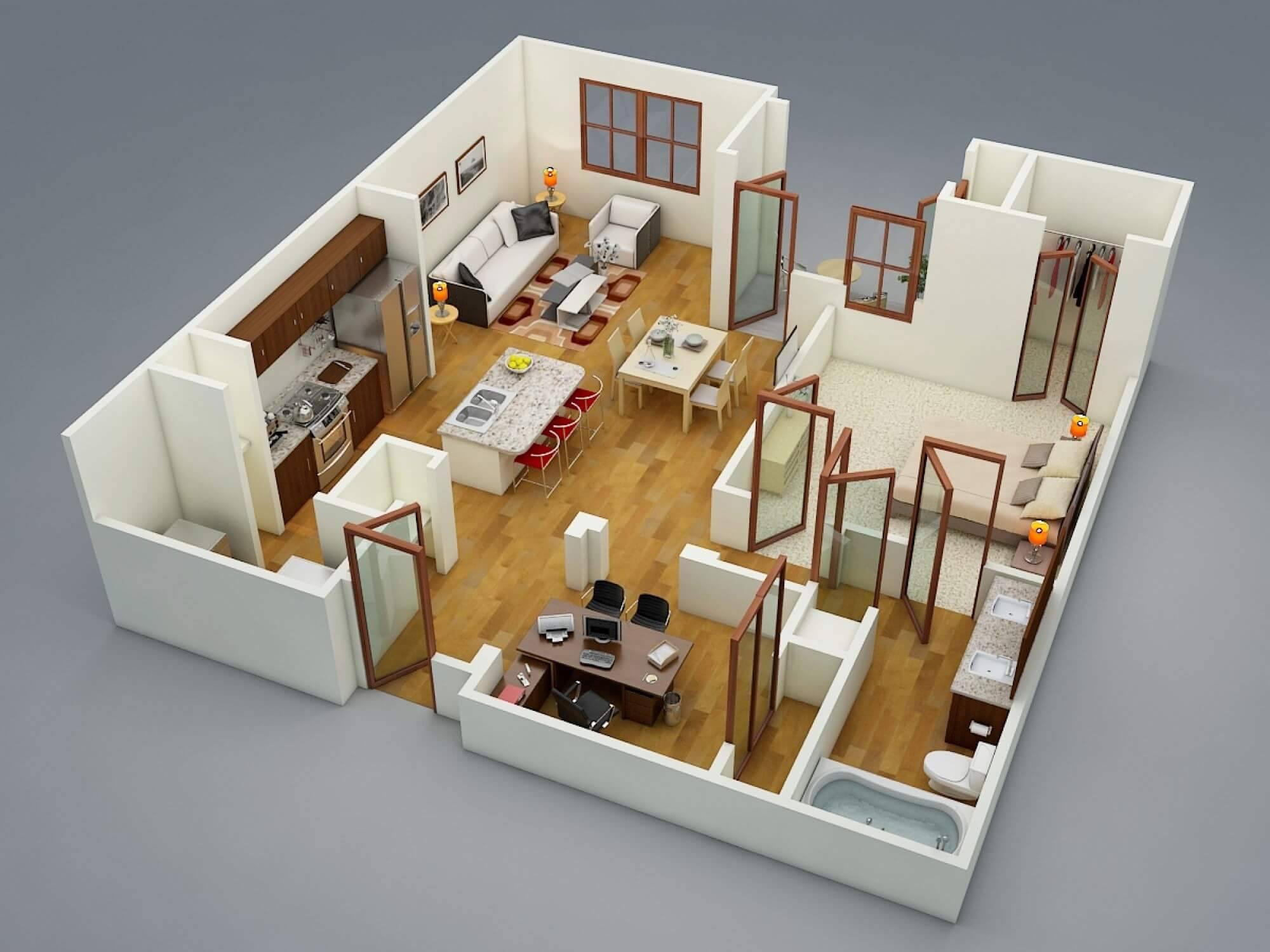 Plantas de casas com 1 quarto de casal