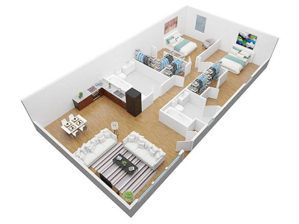 Plantas de casas com dois quartos e closets