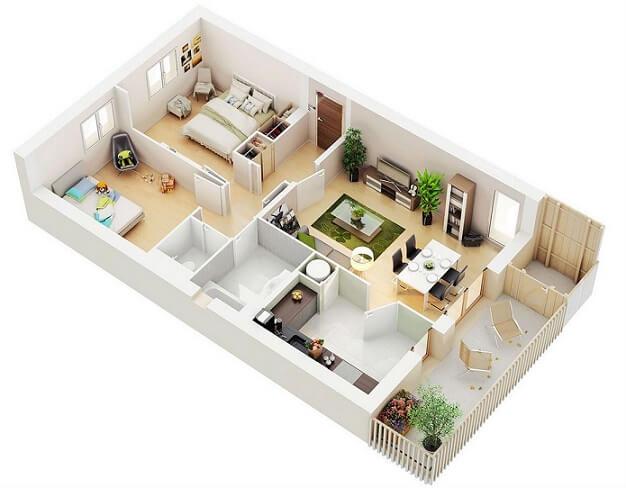 Plantas de casas com dois quartos e sacada