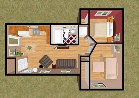 Plantas de casas com dois quartos e sala integrada com a cozinha
