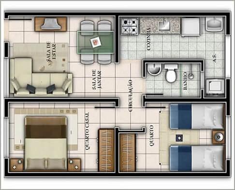 Plantas de casas com dois quartos e um banheiro