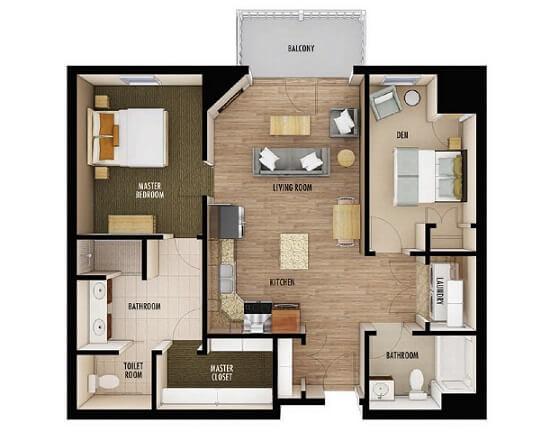 Plantas de casas com dois quartos grandes