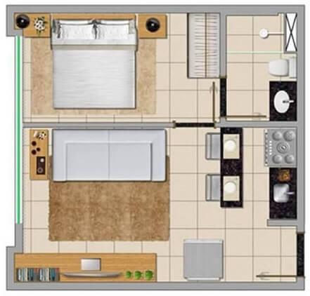 Plantas de casas com um quarto e cozinha americana