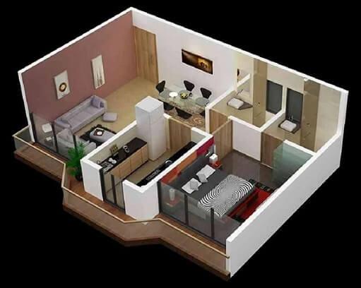 Plantas de casas com um quarto e dois banheiros