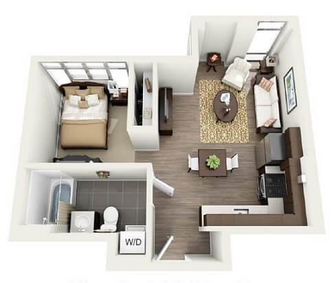 Plantas de casas com um quarto e sala e cozinha integradas