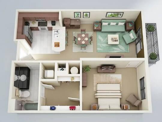 Plantas de casas com um quarto e varanda