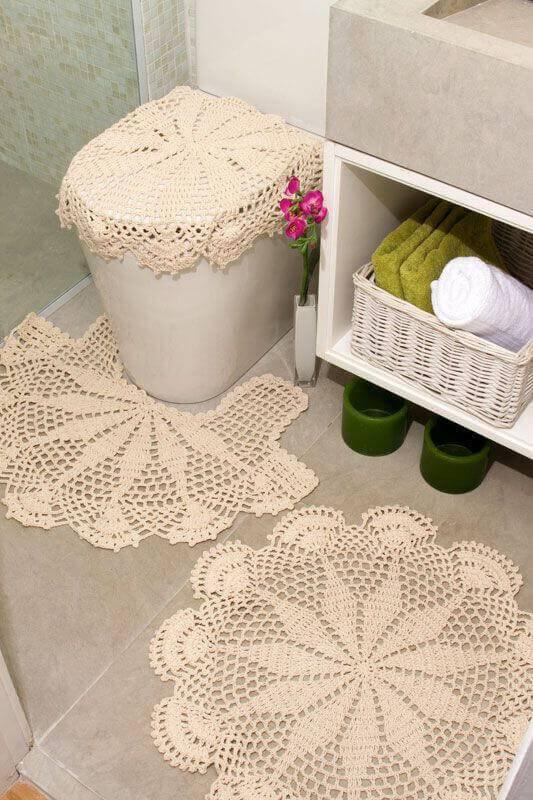 Tapetes de barbantes neutros jogo de banheiro de croche