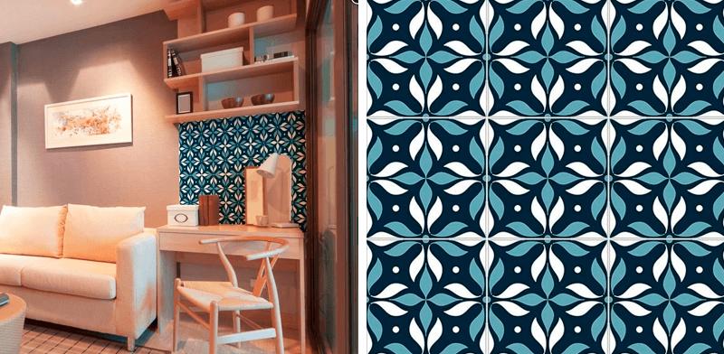 adesivo para azulejo azul