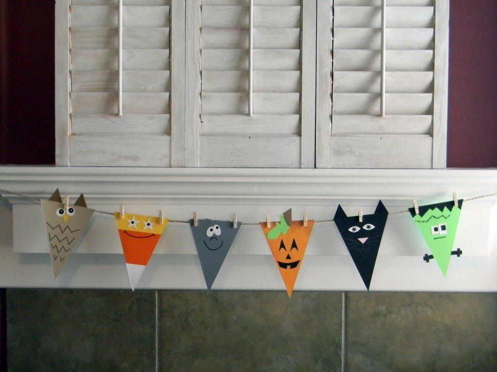 diy decoração de halloween bandeirinhas de papel