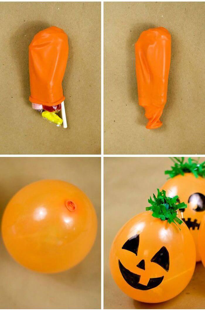diy decoração de halloween bexiga de abobora