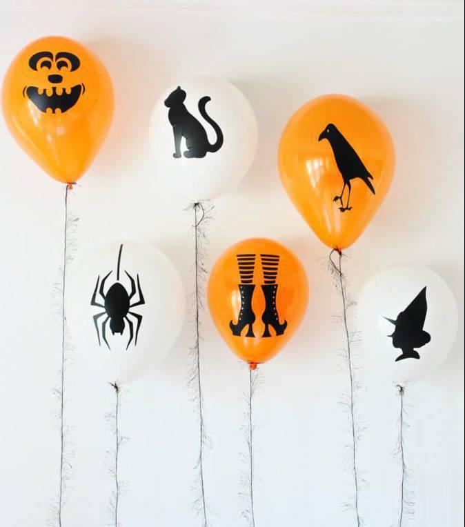 diy decoração de halloween bexigas assutadoras