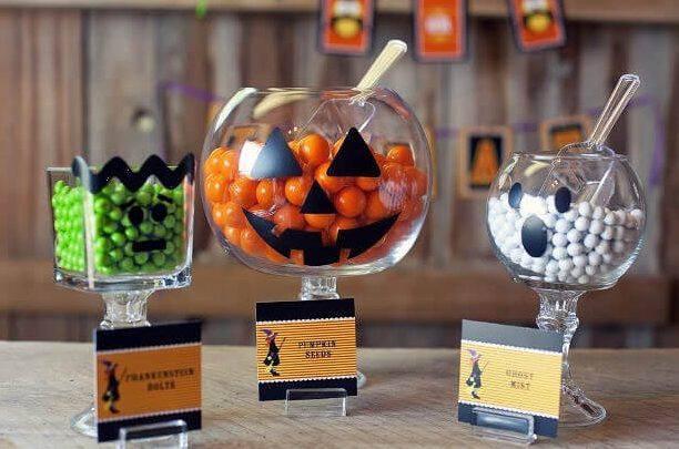 diy decoração de halloween doces