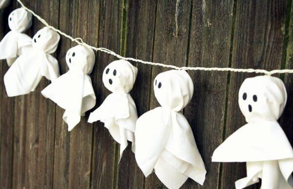 diy decoração de halloween fantasminhas