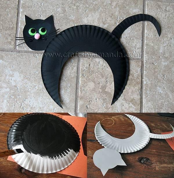 diy decoração de halloween gato preto