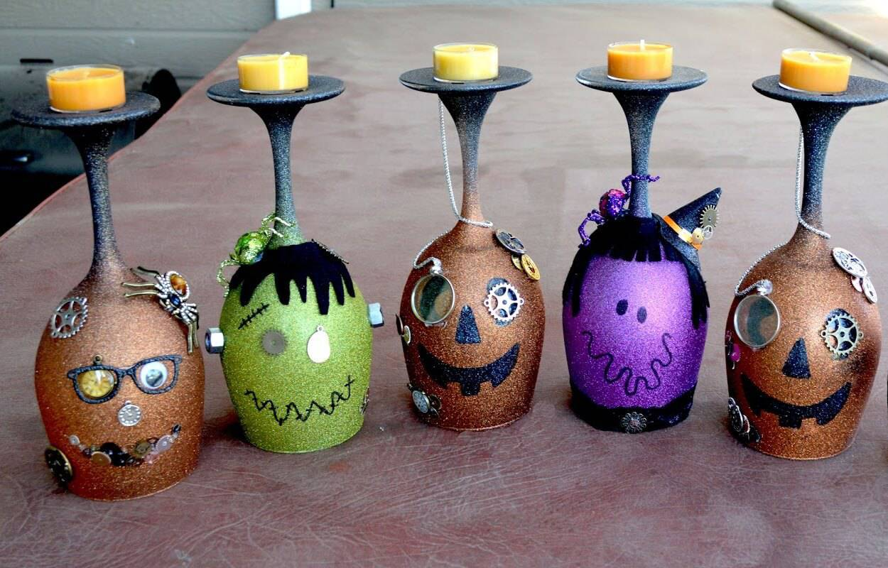 diy decoração de halloween taças decoradas