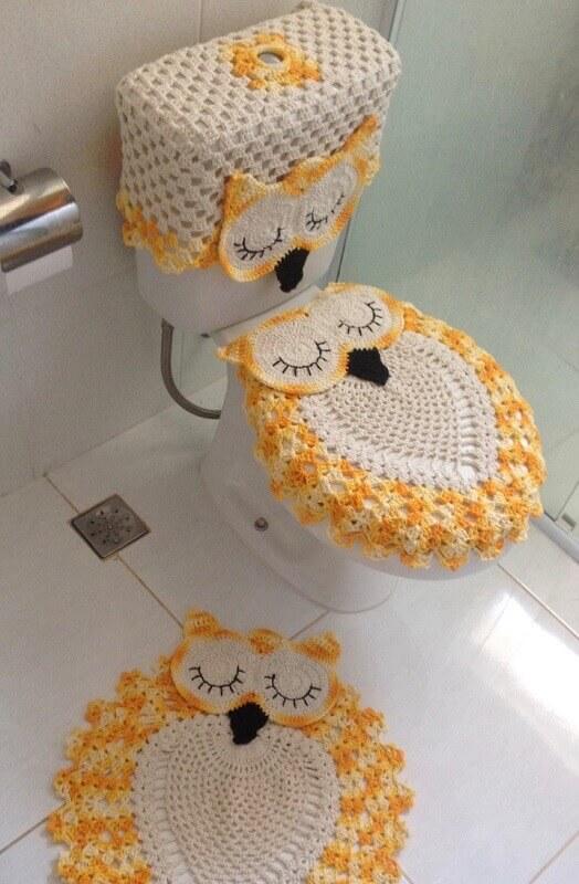 jogo de banheiro de crochê de coruja amarela