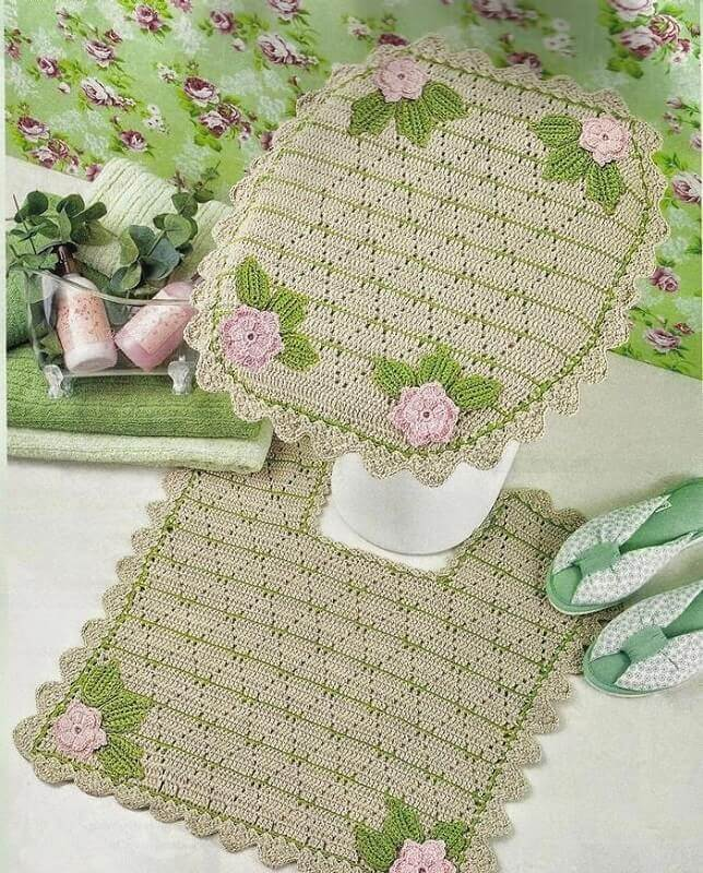 Modelo de jogo de banheiro de crochê delicado em tons de verde