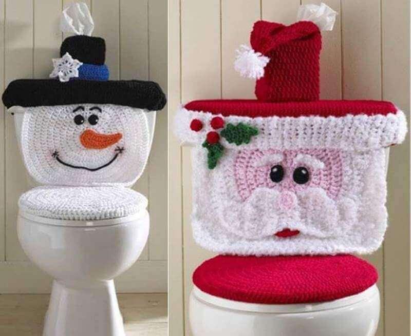jogo de banheiro de crochê para o natal
