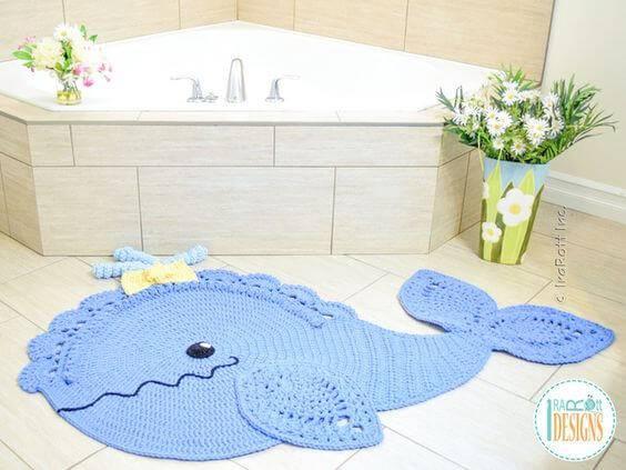 jogo de banheiro de croche baleia