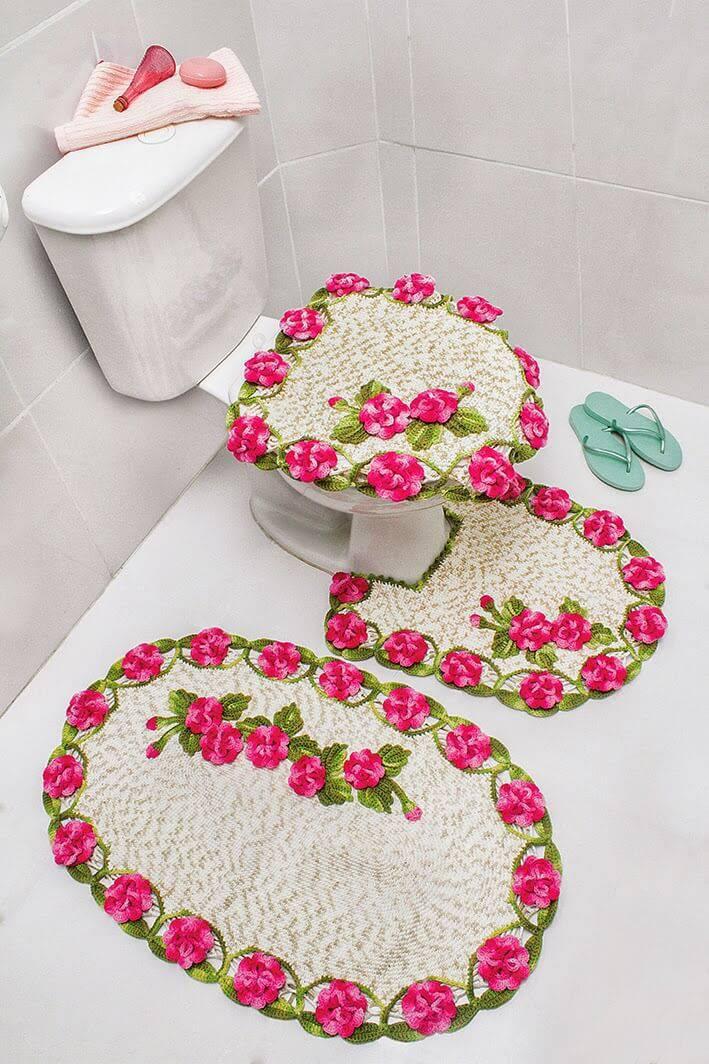 jogo de banheiro de croche borda de flores