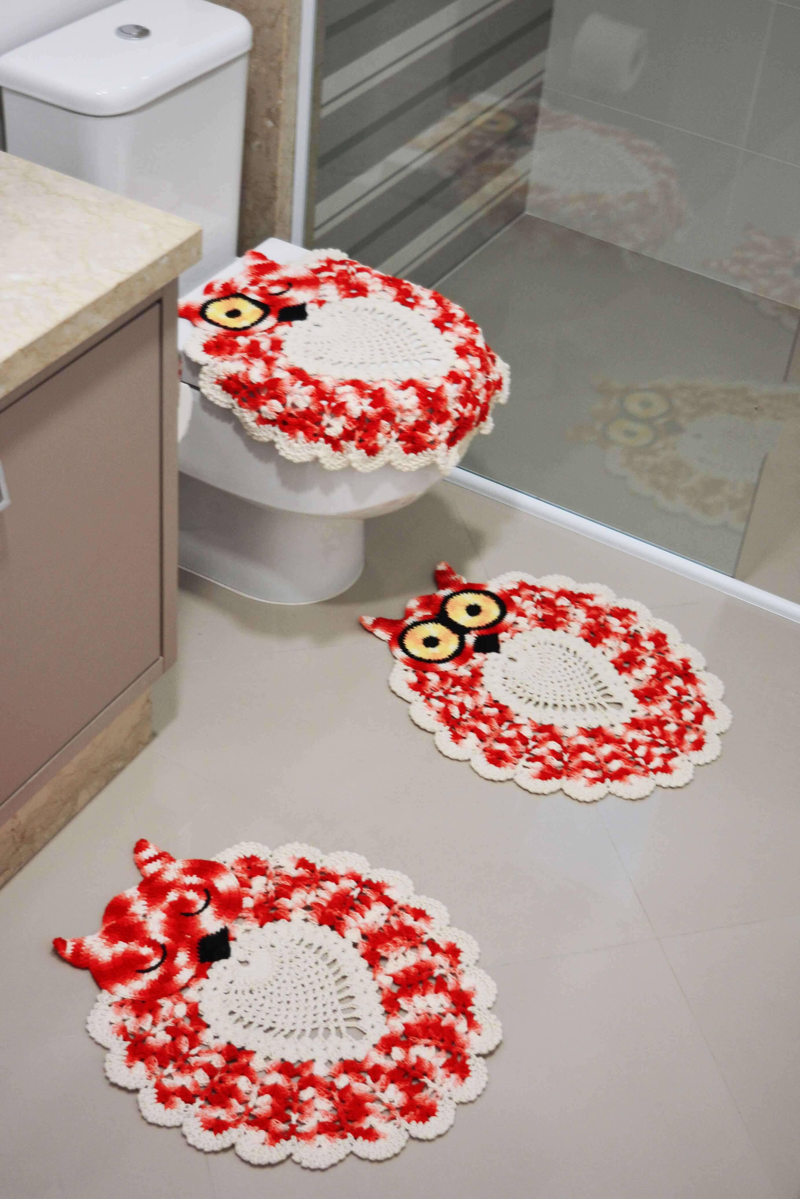 jogo de banheiro de croche coruja vermelha