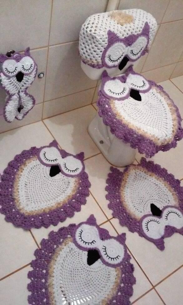 jogo de banheiro de croche corujas roxas