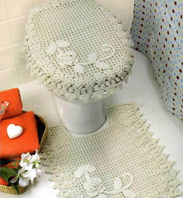 jogo de banheiro de croche de barbante