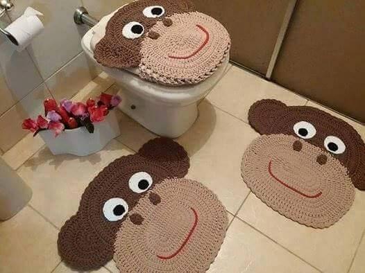 jogo de banheiro de croche de macacos