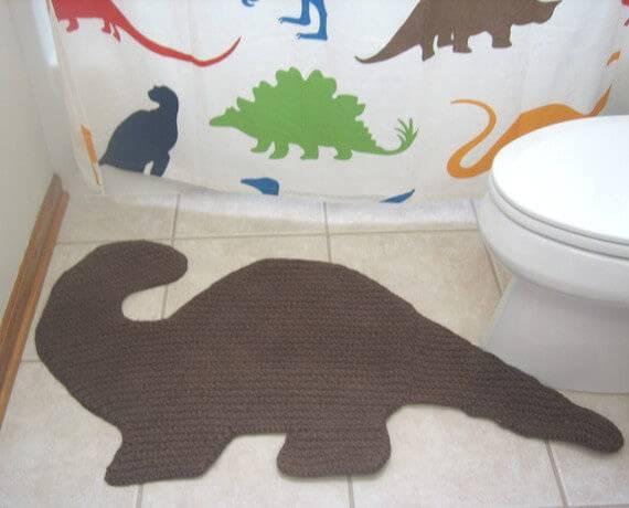 jogo de banheiro de croche dinossauro