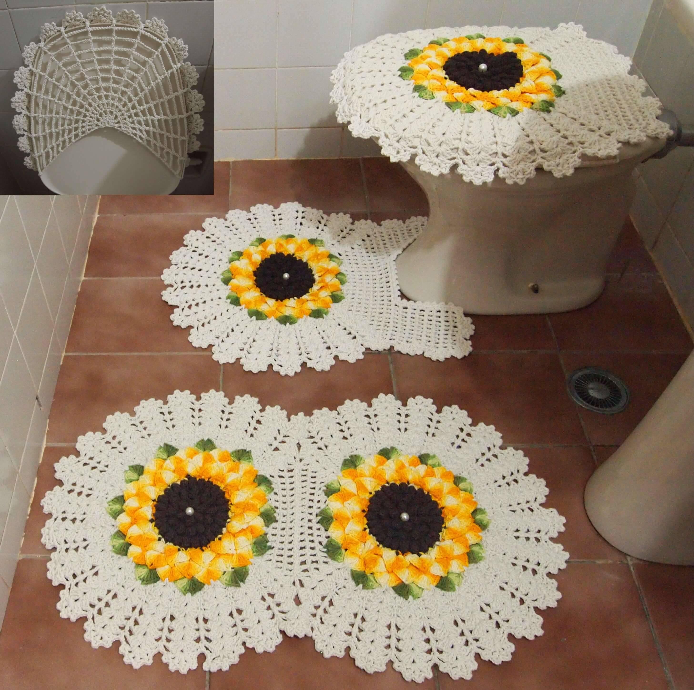 jogo de banheiro de croche girassois