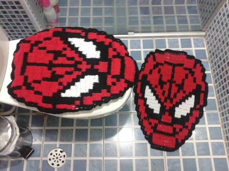 Jogo de banheiro de crochê do Homem Aranha