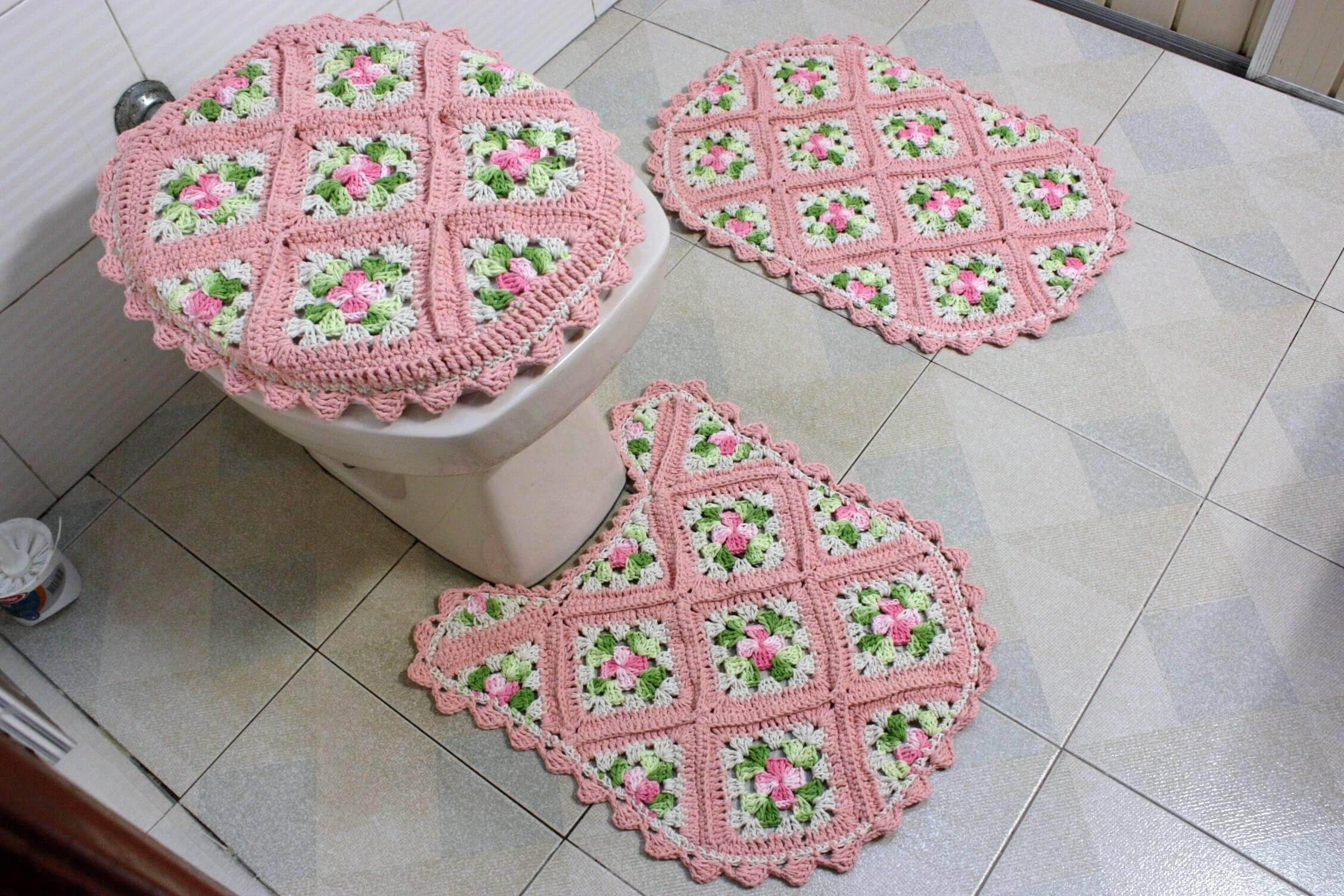 jogo de banheiro de croche rosa claro