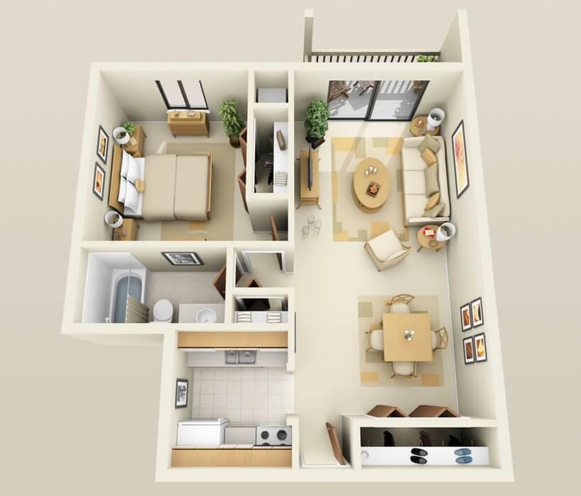 plantas de casas 1 quarto closet