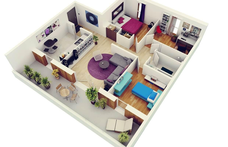 plantas de casas 3 quartos home office