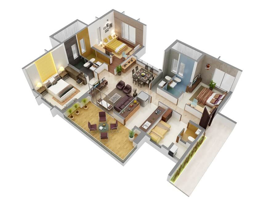 plantas de casas 3 suites