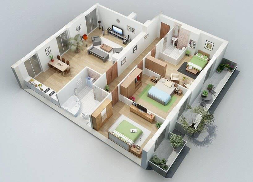 30 Inspira Es De Plantas De Casas Para Seu Projeto: 3d apartment layout