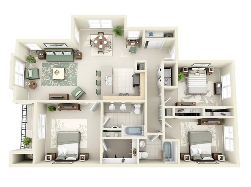 plantas de casas com 3 quartos grandes