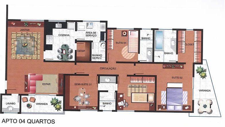 plantas-de-casas-com-4-quartos