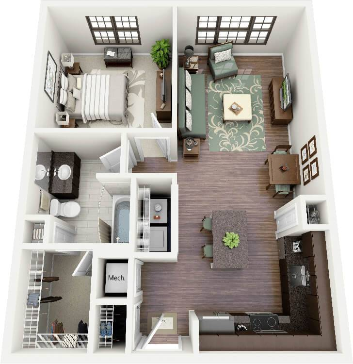 50 inspira es de plantas de casas para seu projeto for Turn floor plan into 3d model