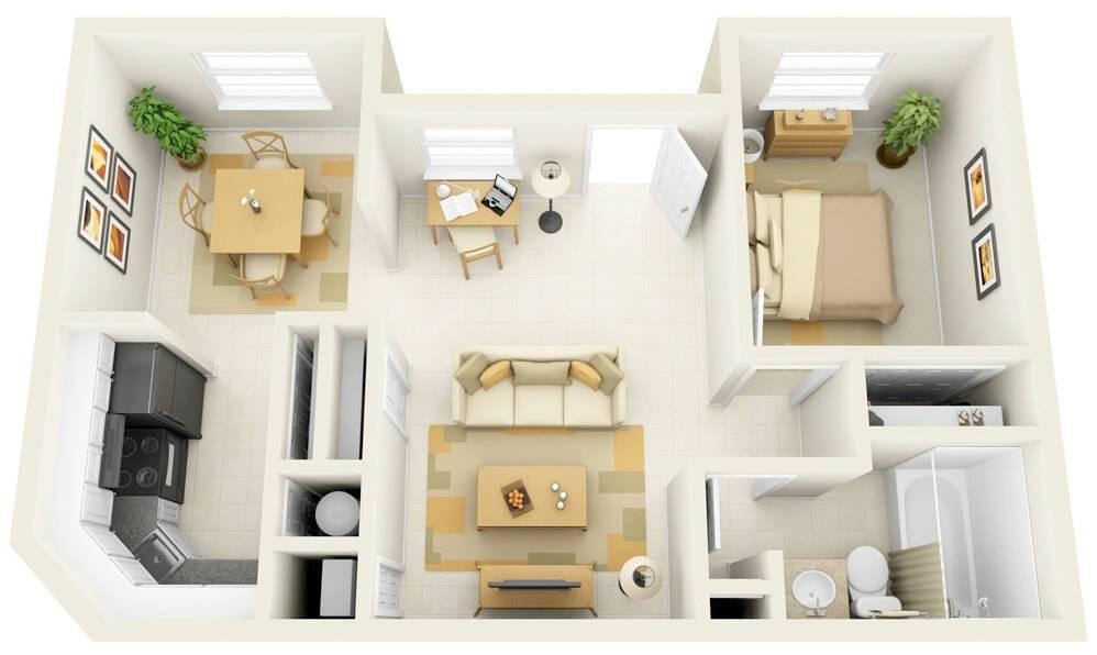 plantas de casas pequenas com 1 quarto apartamento