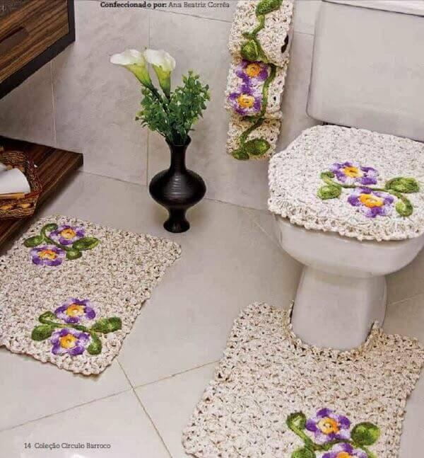 tapetes de barbante jogo de banheiro de croche flores claras