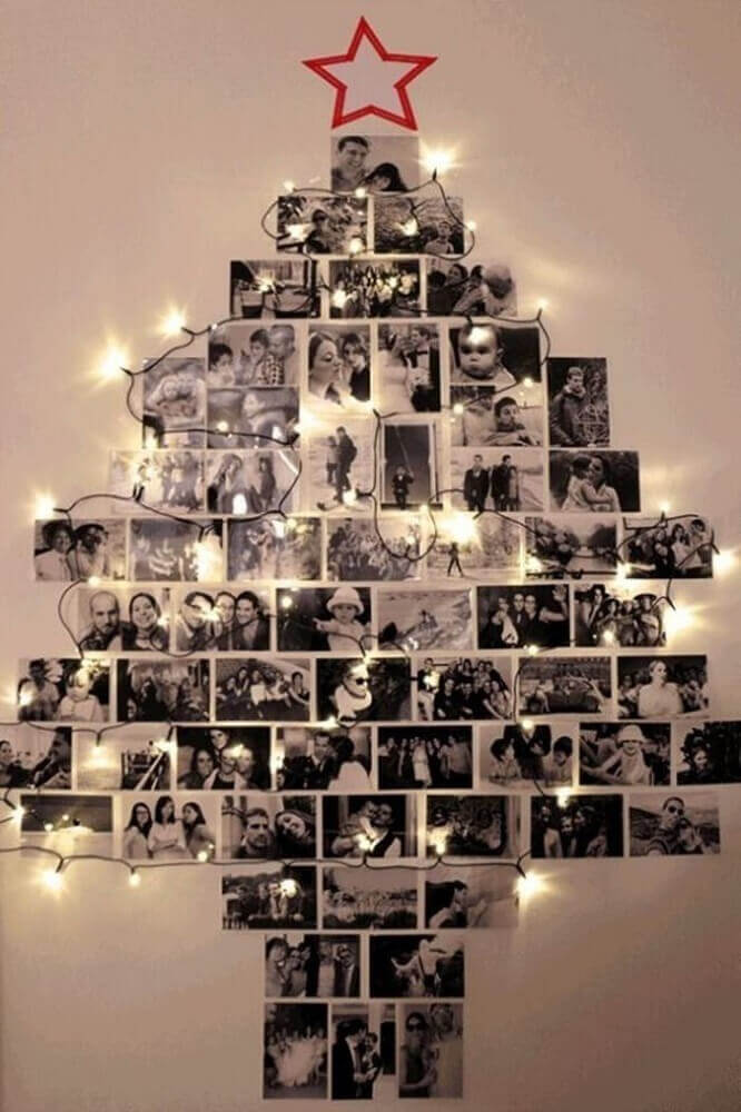 Christmas decorations idea made with pictures placed on the wall