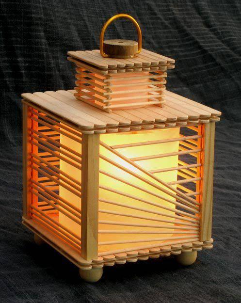 artesanato com palitos de sorvete luminária